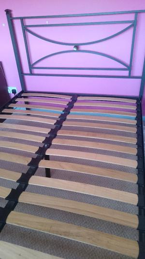 Metal slated double bed frame