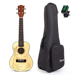 24 Inch Solid Spruce Concert Ukulele Hawaiian Guitar W/Bag &