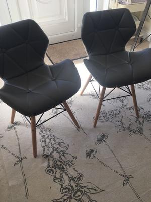 Chairs/office chairs - 2 x Grey low back chairs, light wood legs and leather type material