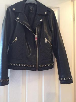 Guess Leather Jacket with gold effect zip detail, UK size 6 (fits size 8/10)