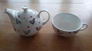 Alex Clark ' lovebirds' china teapot and cup for one