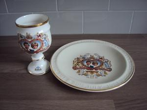 Charles and Diana Wedding Goblet and Plate.