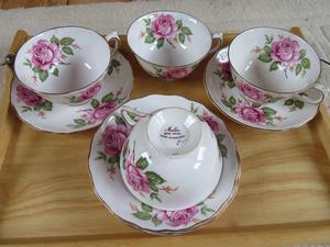 'Melba' bone china cups & saucers - pink rose design