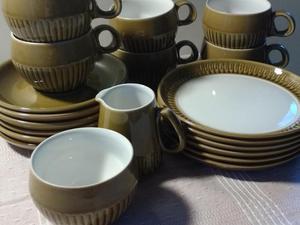 Vintage Olive Langley Denby Coffee Cup Set