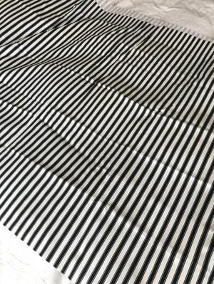 Black and white stripe curtain / blind fabric
