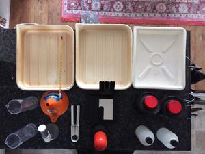 Darkroom equipment: Trays, Paper, Storage Bottles, Red Light, Focus Finder...