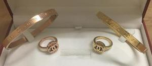 Gold plated bracelet and ring set