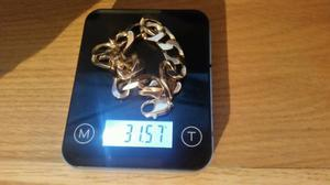 Solid 9ct gold mens heavy curb bracelet g