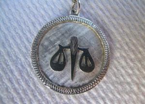 Vintage 's Sterling Silver Libra Pendant And Chain
