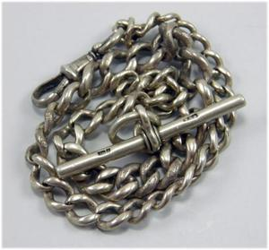 Antique sterling silver pocket watch chain