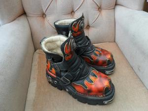 NEW ROCK 'REACTOR' FLAME BOOTS - EUR SIZE 39