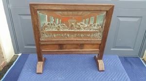 Antique Fire Screen With Copper Panel Depicting The Last Supper