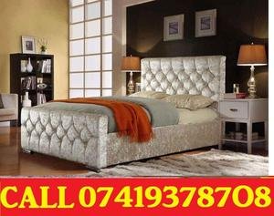 ***Brand New DOUBLE CHESTERFiELD CRUSH VALVET DIVAN BASE BED WITH Mattress***