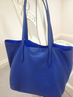 New LK Bennett Peggy Blue Italian Leather Tote Bag