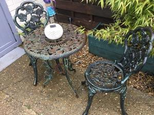 Cast iron garden table and chairs cast iron