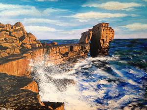 Hand painted original of Pulpit Rock, Portland, Dorset