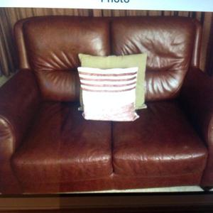 2 x Two Seater Brown Sofas