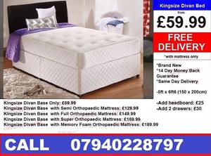 BRAND NEW KINGSIZE Bed/Double Bed/Single Bed/ With Mattress
