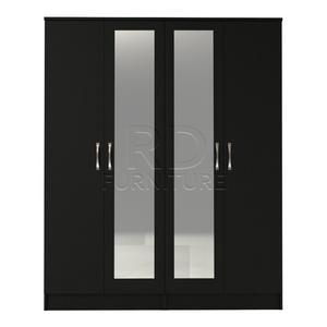 Beatrice 4 door double mirrored wardrobe black finish