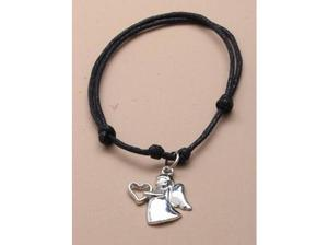 Black corded adjustable bracelet with guardian angel charm.