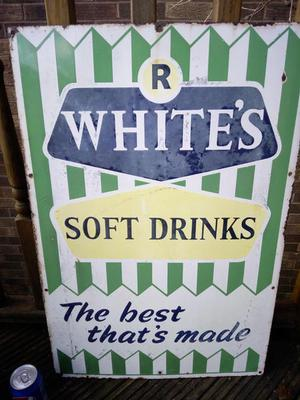Original R.White's Enamel shop sign in good condition. The