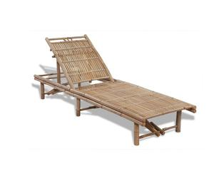 vidaXL Adjustable Bamboo Sun Lounger  New