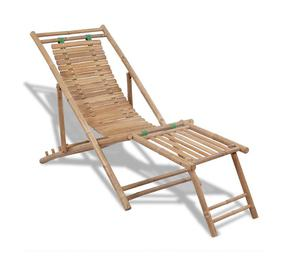 vidaXL Bamboo Deck Chair with Footrest  New