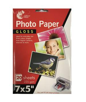 "7 x 5"" Gloss Photo Paper Pack of 20 Sheets 235gsm For All"