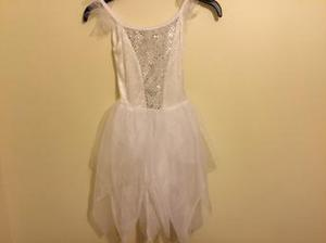 Dance outfit white velour dress with sequins & tulle age 6-8