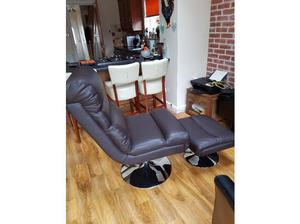 Dark brown leather effect chair with chrome circular base