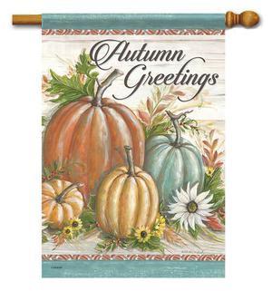 Farmhouse Pumpkins Autumn Greetings Fall House Flag -2 Sided