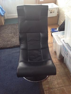 Gaming chair. Black faux leather