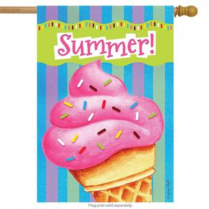 Ice Cream Delight Summer House Flag Sprinkles Jimmies Cone