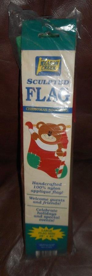 Meadow Creek Sculpted Flag Christmas Stocking Teddy Bear