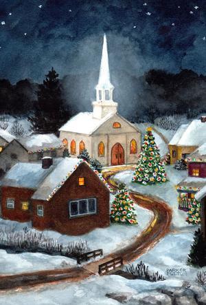 NEW LARGE TOLAND FLAG BEAUTIFUL WINTER CHURCH 28 x 40 TRUE