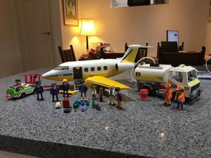 Playmobil aeroplane with refuel tanker and service vehical