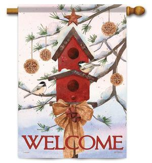 "Snow Pine Chickadees Winter House Flag - 28"" x 40""- 2 Sided"
