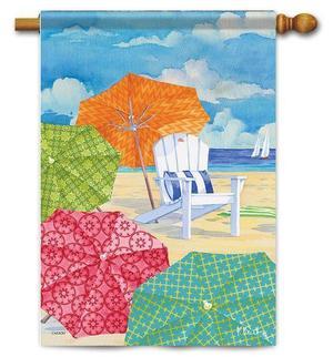 """Sunnyside Umbrellas House Flag - 28"""" x 40""""-Double Sided"""