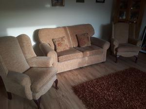 Large 2 seater sofa 2 arm chairs and matching recliner
