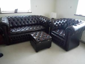 Leather Chesterfield Settee, Chair and footstool