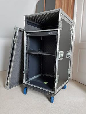 Rhino Shelved 18U Rack Mount Mixer Roller flight Case with 10U Upper Frame on wheels