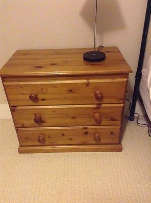 Pine bedroom set wardrobe chest of drawers dressing table and stool bookcase. Not bad condition.