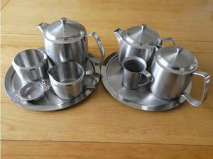 Vintage Old Hall Stainless Steel Teapot set and other
