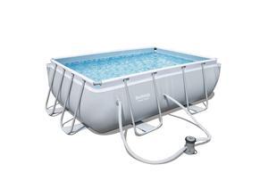 Bestway Power Steel Rectangular Swimming Pool Grey Outdoor