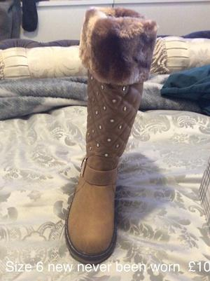 Brand New, Fur Beige Boots