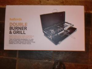 Camping double burner and grill