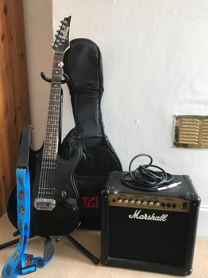 Electric guitar with amp, stand, bag and electric tuner