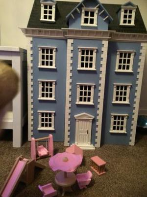 Huge blue dolls house with tonnes of furniture!