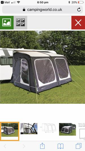 Outdoor revolution air awning with additional sleeping pod