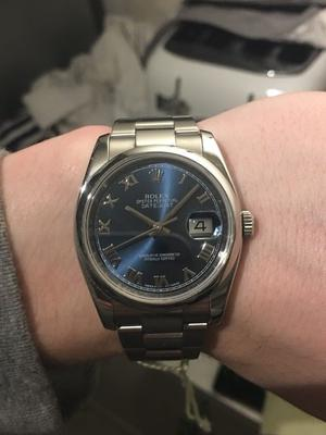 ROLEX DATEJUST STEEL AND 18CT WHIT GOLD NUMERALS